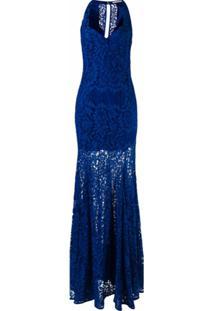 Martha Medeiros Vestido Longo De Renda - Azul
