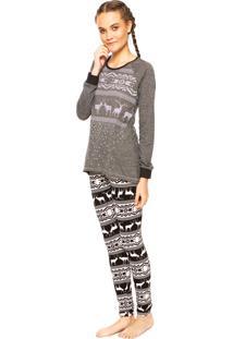Pijama Cor Com Amor Arabesco Cinza