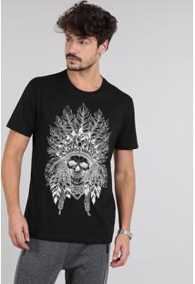 Camiseta Masculina Índio Manga Curta Gola Careca Preta