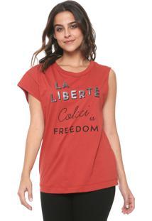 Camiseta Colcci Assimétrica Estampada Laranja