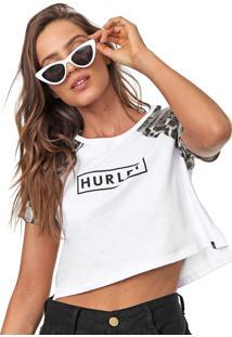 Camiseta Cropped Hurley Raglan Leopard Branca/Bege