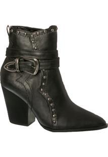 Ankle Boot Country Com Cravinho E Fivela Lateral