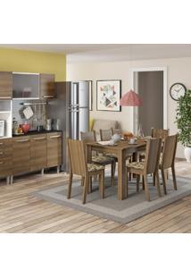 Conjunto Sala De Jantar Mesa E 6 Cadeiras Maris Madesa Rustic/Bege/Marrom