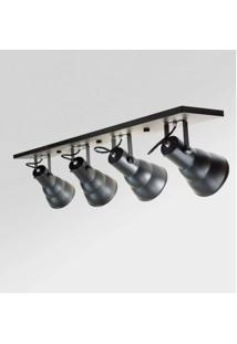 Spot Alumínio Embutir Redondo 4 Lâmpadas E27 Direcionáveis Linear Hol Taschibra Preto Fosco