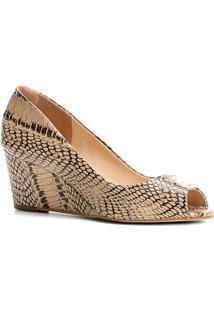 Peep Toe Couro Shoestock Anabela Cobra - Feminino
