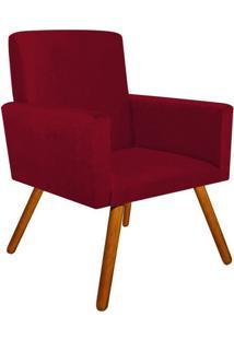 Poltrona Decorativa Nina Suede Vermelho Com Encosto Alto Drossi