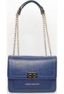 Bolsa Em Couro Com Bolso- Azul- 21X28X10Cmjorge Bischoff