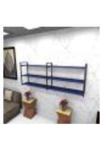 Estante Estilo Industrial Sala Aço Cor Preto 180X30X68Cm (C)X(L)X(A) Cor Mdf Azul Modelo Ind32Azsl