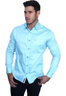 Camisa Social Sport Victor Deniro Azul Acetinado