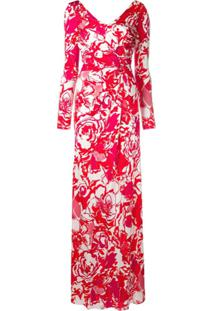 Roberto Cavalli Vestido Com Estampa Floral - Vermelho