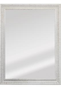 Espelho Retangular Moldura De Madeira Cartagena Branco Provençal 82X62Cm