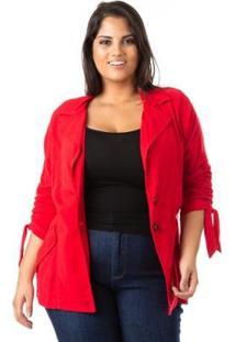 Blazer Alongado Em Linho Plus Size Confidencial Extra Feminina - Feminino-Vermelho