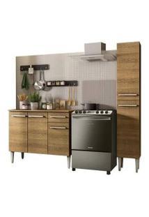 Cozinha Compacta Madesa Emilly Silver Com Balcão E Paneleiro Rustic