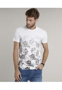 Camiseta Masculina Slim Fit Com Estampa Floral Degradê Manga Curta Gola Careca Branca