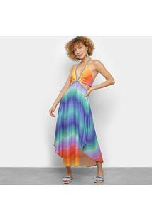 Vestido Farm Cropped Fita Rainbow Multicolor - Feminino-Estampado