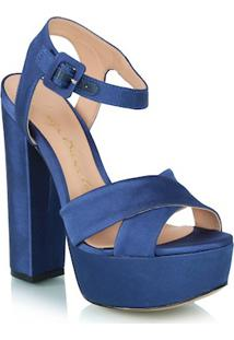 Sandália Meia Pata Em Cetim Azul