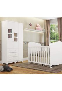 Quarto De Bebê Berço Americano E Guarda Roupa 3 Portas 3 Gavetas Uli Móveis Peroba Branco