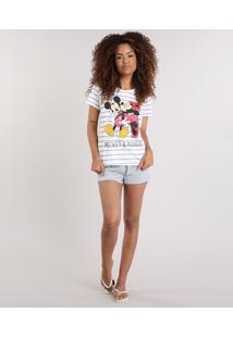42716fb6b CEA. Pijama Off White Embutir Listrado Estampado Com Manga Curta Feminino  ...