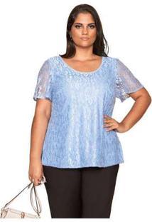Blusa Almaria Plus Size Pianeta Renda Azul Azul