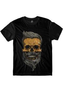 Camiseta Bsc Motoqueiros Caveira De Barba Sublimada - Masculino-Preto