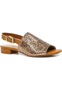 Sandália Zariff Shoes Salto Glitter - Feminino-Dourado