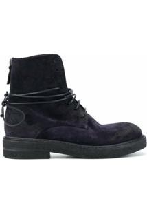 Marsèll Ankle Boot De Camurça Com Cadarço - Azul