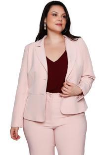 Blazer Almaria Plus Size Pianeta Alfaiataria Rosa Camafeu