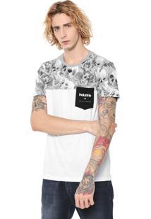 Camiseta Industrie Skull Branca/Cinza
