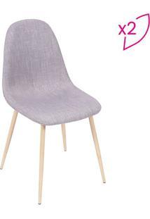 Jogo De Cadeiras Charla- Cinza & Bege- 2Pçs- Or Or Design
