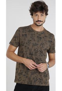 Camiseta Masculina Estampada De Folhas Manga Curta Gola Careca Marrom