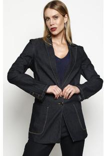 Blazer Jeans Com Bolsos- Azul Escuro- Maria Valentinmaria Valentina