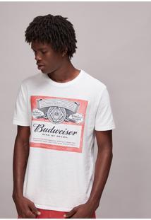 Camiseta Masculina Budweiser Manga Curta Gola Careca Off White