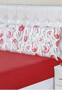 Jogo De Lençol Bia Enxovais Solteiro Malha 100% Algodão 2 Peças - Flamingo