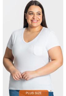 Blusa Viscotorcion Feminina Plus Branco