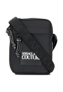 Versace Jeans Couture Bolsa Carteiro Com Logo Contrastante - Preto