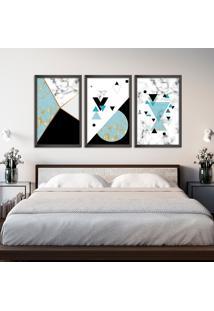 Quadro 60X120Cm Abstrato Escandinavo Coloridos Geométrico Triangulos Moldura Preta Sem Vidro - Mod: Oh5715