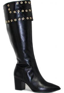 Bota Zariff Shoes Montaria Em Couro Zíper Preto