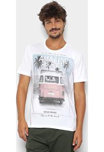 Camiseta Kohmar Estampa Tropical Masculina - Masculino-Off White
