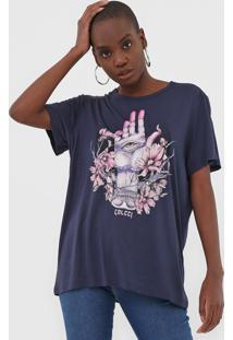 Camiseta Colcci Estampada Azul-Marinho