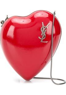 Saint Laurent Bolsa Tiracolo 'Love Box' De Couro - Vermelho