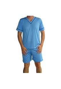 Pijama Masculino Adulto Gola V Manga Curta Shorts Curto Verão - Azul Cobalto