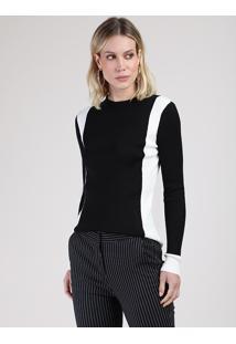 Suéter Feminino Bicolor Em Tricô Decote Redondo Preto