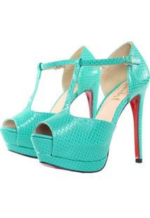 Sandália Week Shoes Meia Pata Verniz Croco Verde