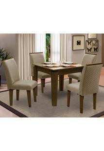 Sala De Jantar Saint Michel Com 4 Cadeiras – Dobuê Movelaria - Castanho / Bege / Bege