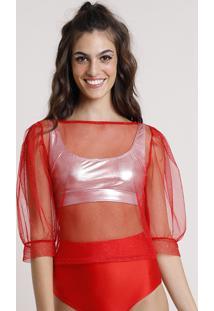 Blusa Feminina Carnaval Mindset Cropped Em Tule Com Glitter Manga Bufante Decote Redondo Vermelha