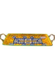 Bandeja Retangular Decorativa Btc Em Cerâmica Com Hastes 6 X 41 X 16 Cm - Amarela/Azul