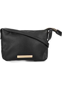 Bolsa Loucos & Santos Mini Bag Básica Plaquinha Feminina - Feminino-Preto