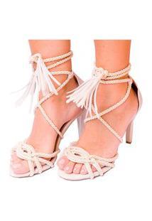 Sandália Em Cordas Amarração Off White Salto Fino Branco