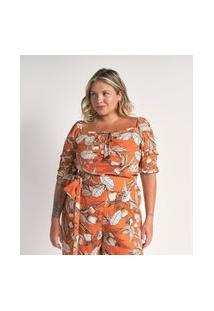 Blusa Estampada Em Viscose Com Amarração Curve E Plus Size Laranja