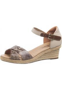 Sandália Anabela Doctor Shoes 662 Bege/Cobra